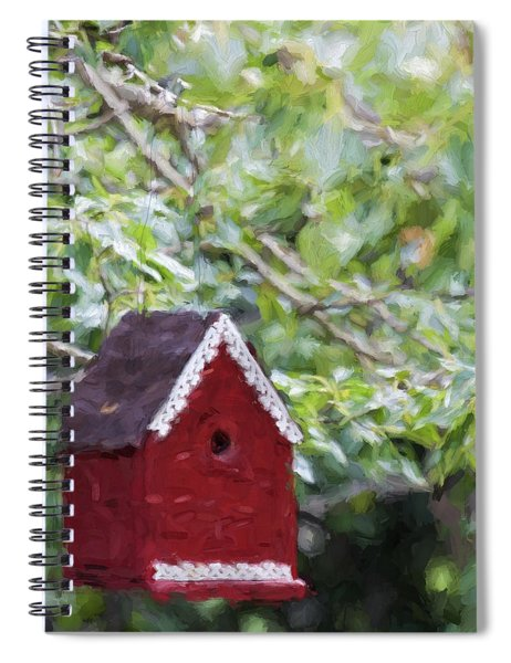 Red Birdhouse Painterly Effect Spiral Notebook