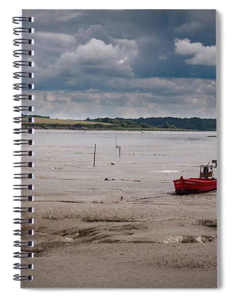 Red Boat On The Mud Spiral Notebook