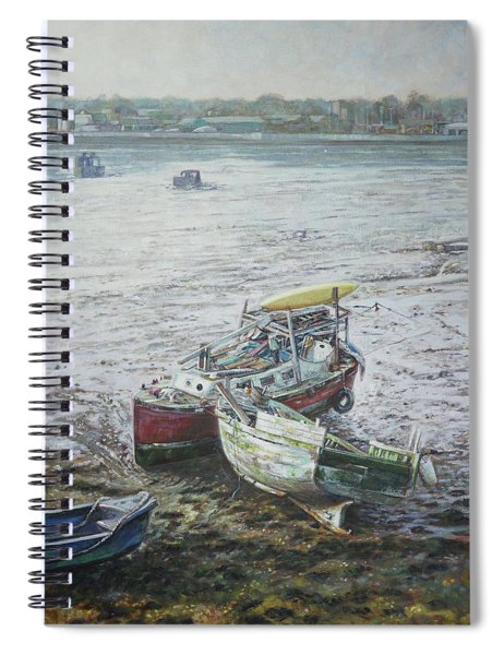 Spiral Notebook featuring the painting Red Boat Wreck Southampton by Martin Davey