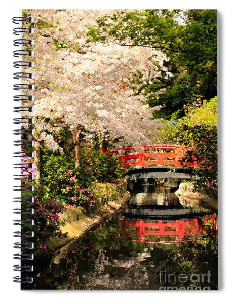 Red Bridge Reflection Spiral Notebook