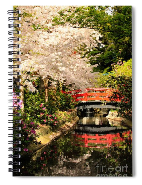 Red Bridge Reflection Spiral Notebook