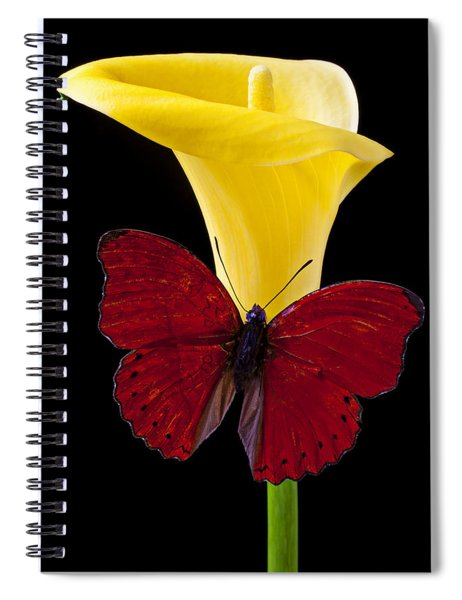 Red Butterfly And Calla Lily Spiral Notebook