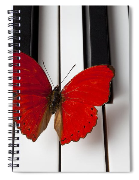 Red Butterfly On Piano Keys Spiral Notebook
