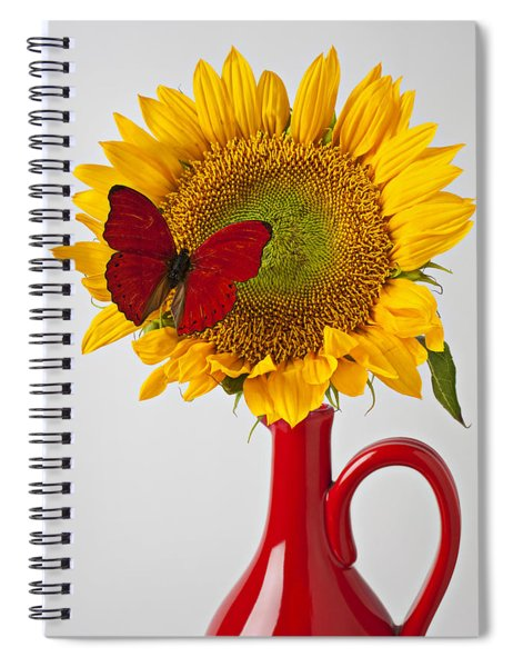 Red Butterfly On Sunflower On Red Pitcher Spiral Notebook