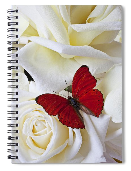 Red Butterfly On White Roses Spiral Notebook