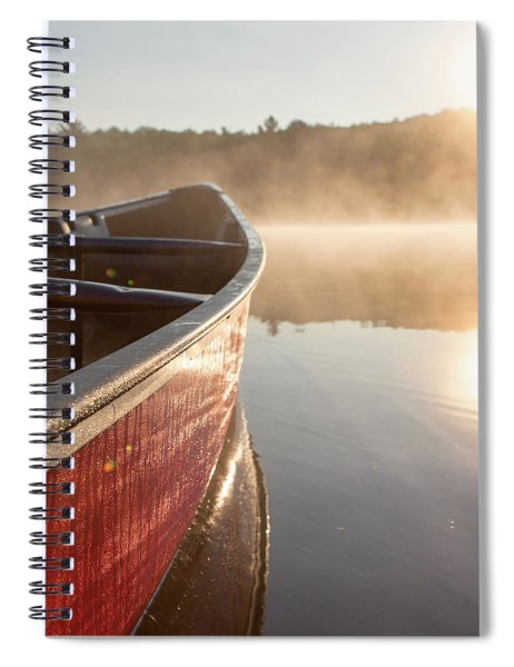 Red Canoe On Misty Lake Spiral Notebook