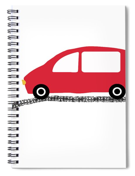 Red Car On Road- Art By Linda Woods Spiral Notebook