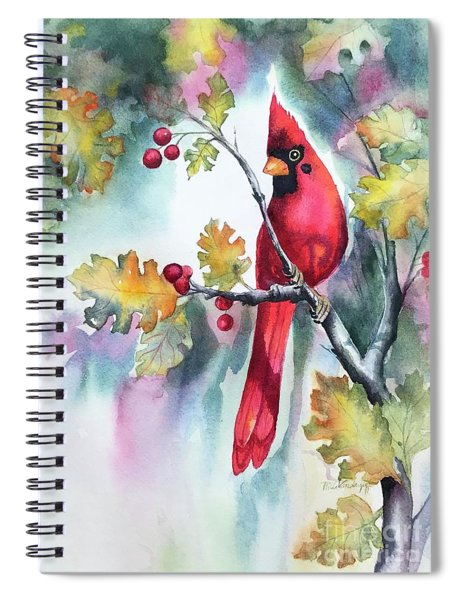 Red Cardinal With Berries Spiral Notebook