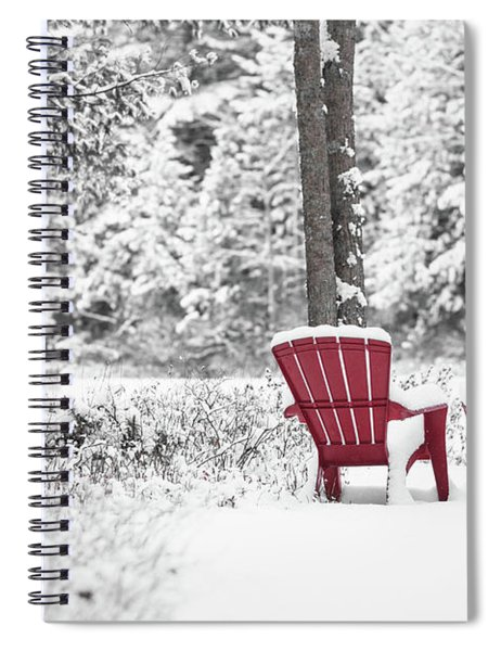Red Chairs In Winter Anderson Pond Spiral Notebook