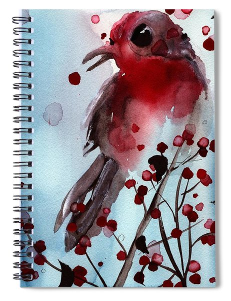 Red Finch In The Winterberry Spiral Notebook