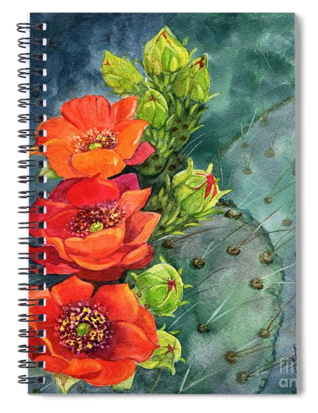 Red Flowering Prickly Pear Cactus Spiral Notebook