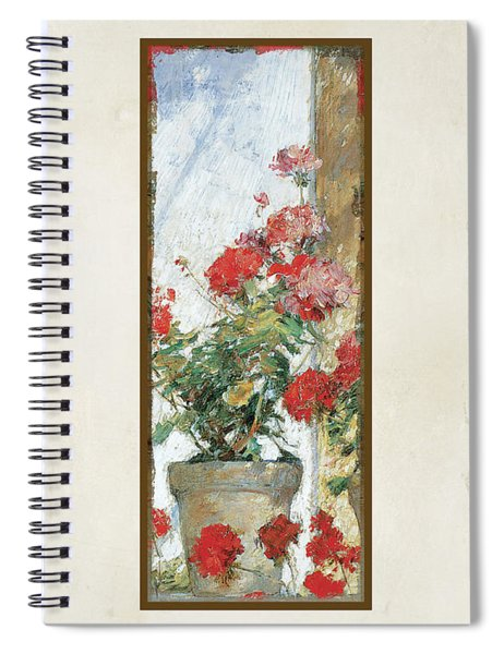 Red Geraniums Against A Sunny Wall Spiral Notebook