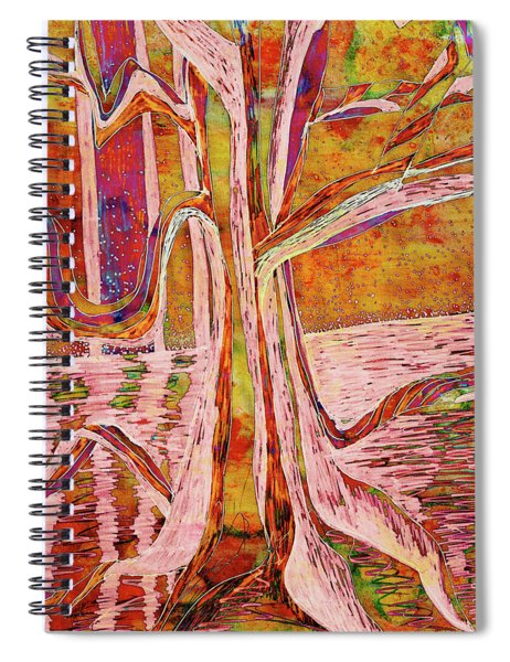 Red-gold Autumn Glow River Tree Spiral Notebook