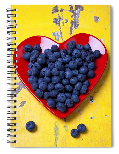 Red Heart Plate With Blueberries Spiral Notebook