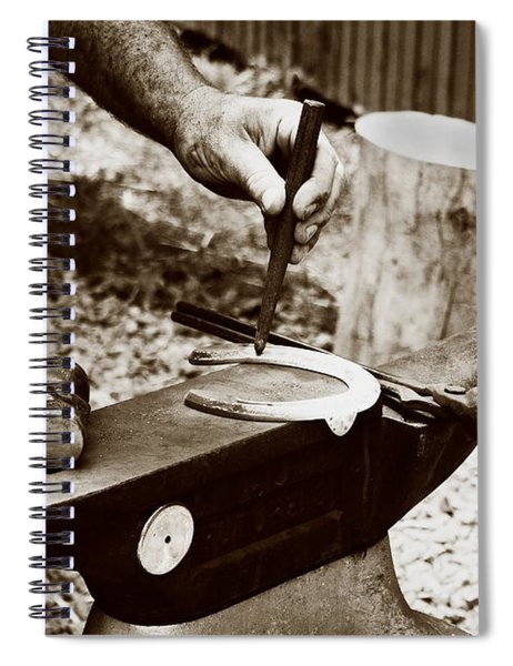 Red Hot Horseshoe On Anvil Spiral Notebook