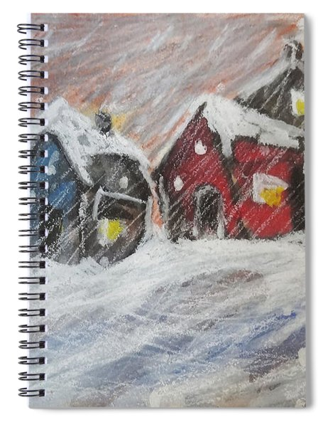 Red House In The Snow Spiral Notebook