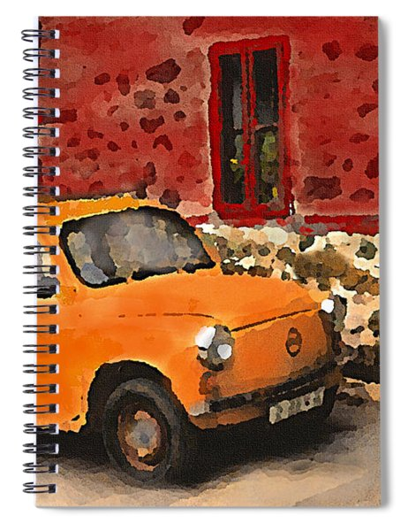 Red House With Orange Car Spiral Notebook