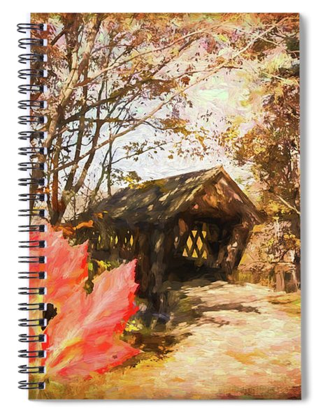 Red Leaves A Covered Bridge Spiral Notebook