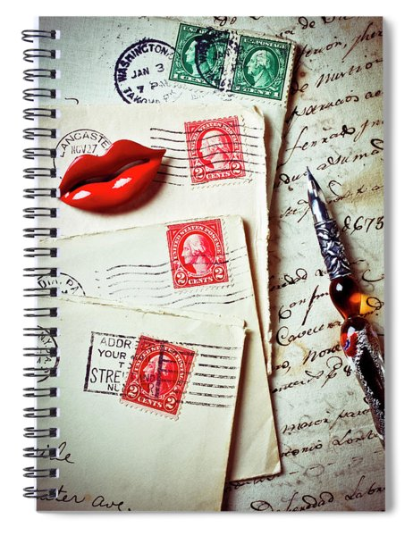 Red Lips Pin And Old Letters Spiral Notebook