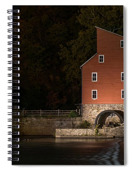 Red Mill At Night Clinton New Jersey Spiral Notebook