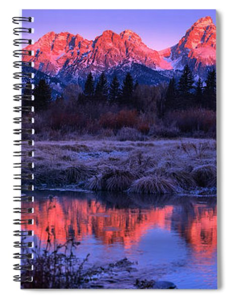 Red Morning Teton Peaks Panorama Spiral Notebook