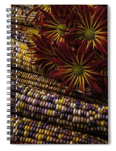 Red Mums And Indian Corn Spiral Notebook