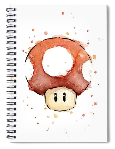 Red Mushroom Watercolor Spiral Notebook