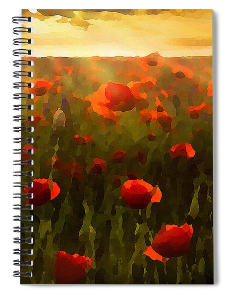 Red Poppies In The Sun Spiral Notebook