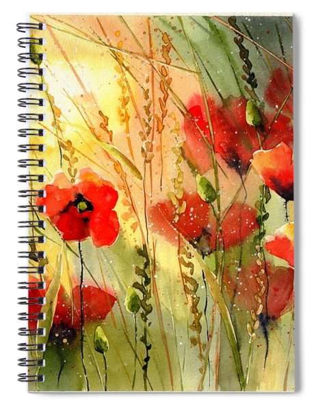 Red Poppies Watercolor Spiral Notebook