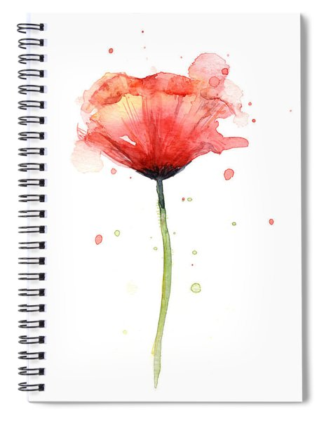 Red Poppy Watercolor Spiral Notebook by Olga Shvartsur