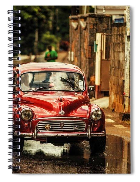 Red Retromobile. Morris Minor Spiral Notebook