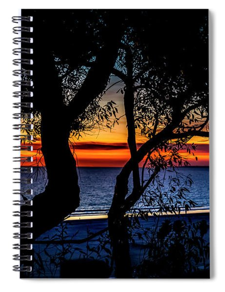 Silhouettes And Red Ribbons Across The Bay Spiral Notebook