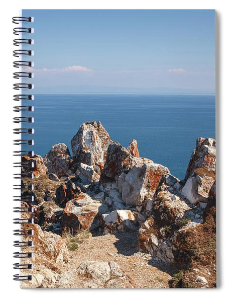 Red Rocks On Blue Sky And Water Background Spiral Notebook
