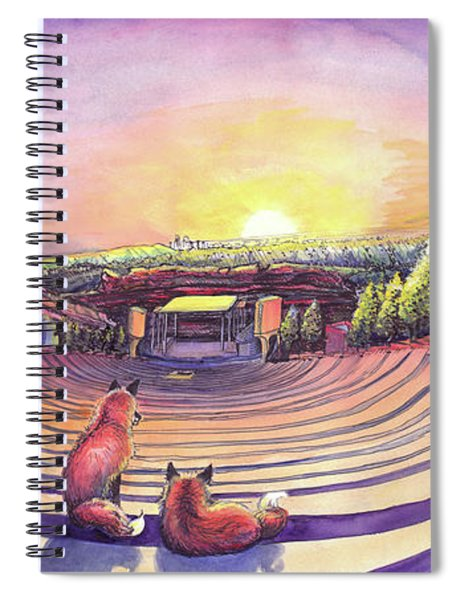 Foxes At Red Rocks Sunrise Spiral Notebook