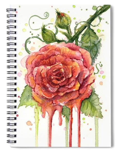 Red Rose Dripping Watercolor  Spiral Notebook