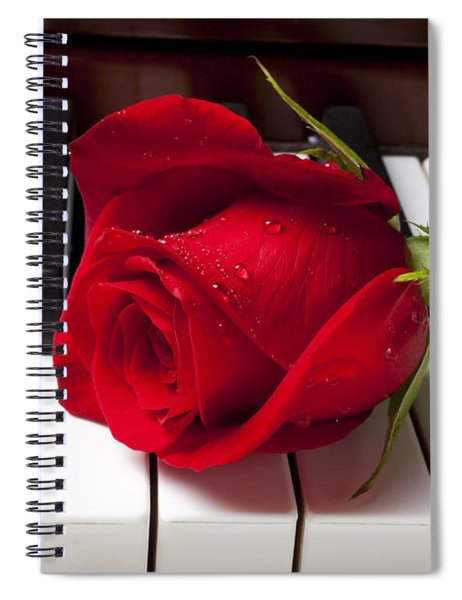 Red Rose On Piano Keys Spiral Notebook