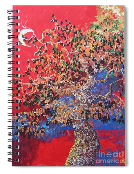 Red Sky And Tree Spiral Notebook
