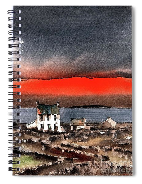 Red Sunset On Bungowla, Aran, Galway Spiral Notebook