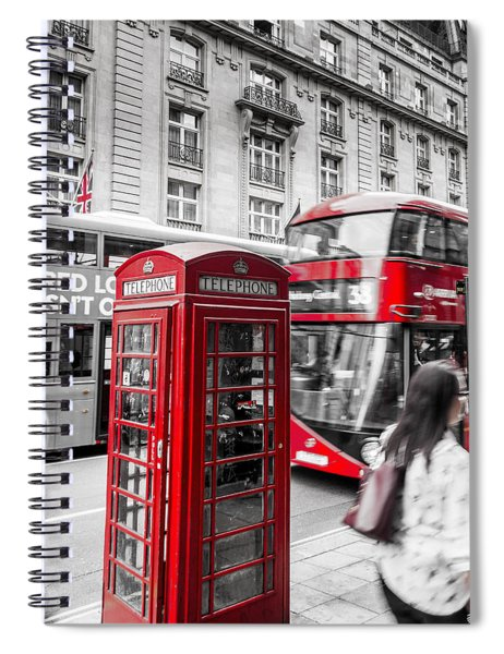 Red Telephone Box With Red Bus In London Spiral Notebook