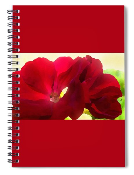 Red Velvet Twin Geraniums  Spiral Notebook by Shelli Fitzpatrick