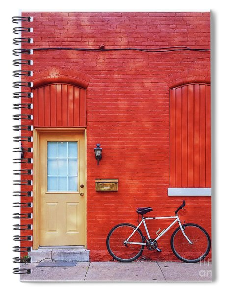Red Wall White Bike Spiral Notebook