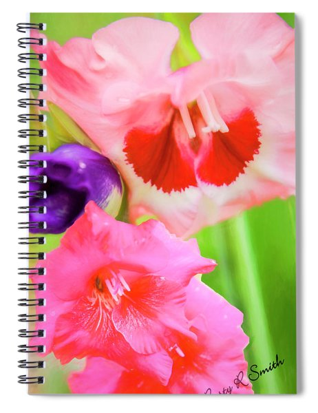 Red,pink And Purple Gladiolas. Spiral Notebook