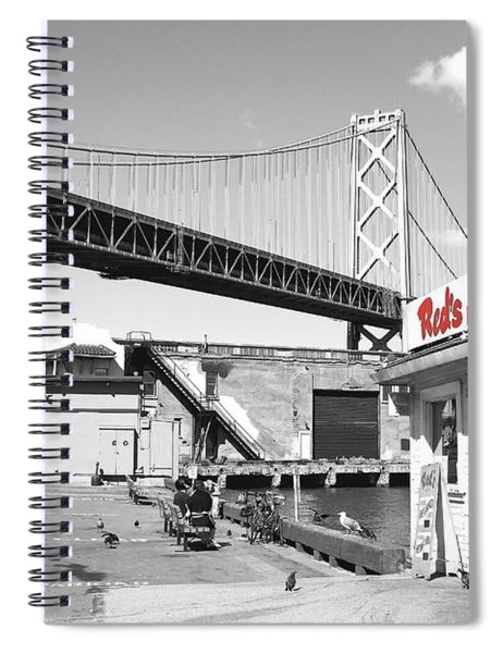 Reds Java House And The Bay Bridge In San Francisco Embarcadero . Black And White And Red Spiral Notebook