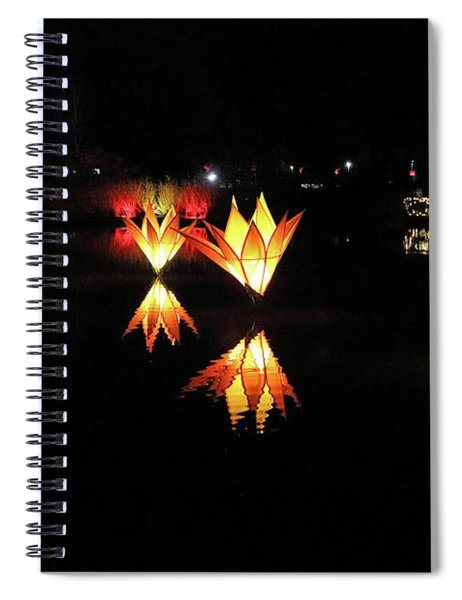 Reflected Illuminated Flowers Wisley Spiral Notebook
