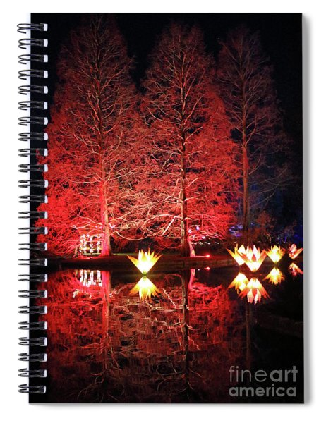 Reflected Illuminated Trees Wisley Spiral Notebook