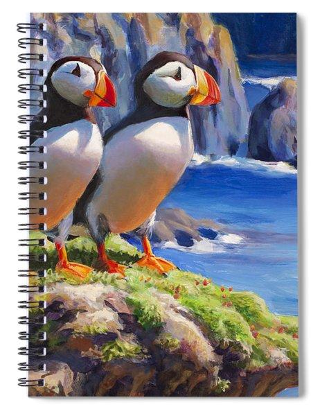 Horned Puffin Painting - Coastal Decor - Alaska Wall Art - Ocean Birds - Shorebirds Spiral Notebook