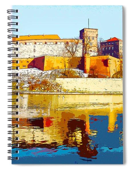 Reflections Of Wawel, Krakow Castle, Poland From The Vistula Riv Spiral Notebook