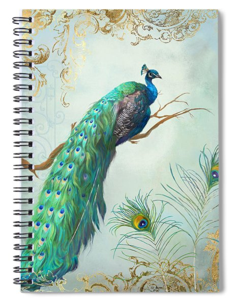 Regal Peacock 1 On Tree Branch W Feathers Gold Leaf Spiral Notebook