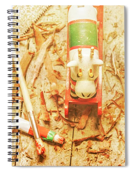 Reindeer With Tools And Wood Shavings Spiral Notebook