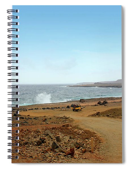 Remote Beach And Waves Off Coast Of Aruba Spiral Notebook
